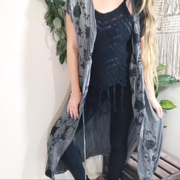 POL Clothing Women's Long Cardigan Duster Long Sleeve Beaded Trim